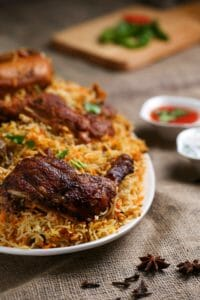 Plate Of Rice And Cooked Meat 1624487